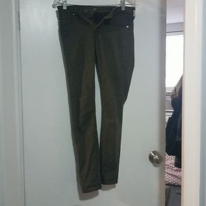 Dark green super skinny ankle jeans
